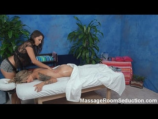 Lesbian play in massage room