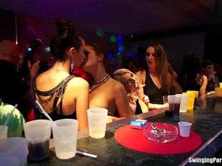 Lesbians have fun in club